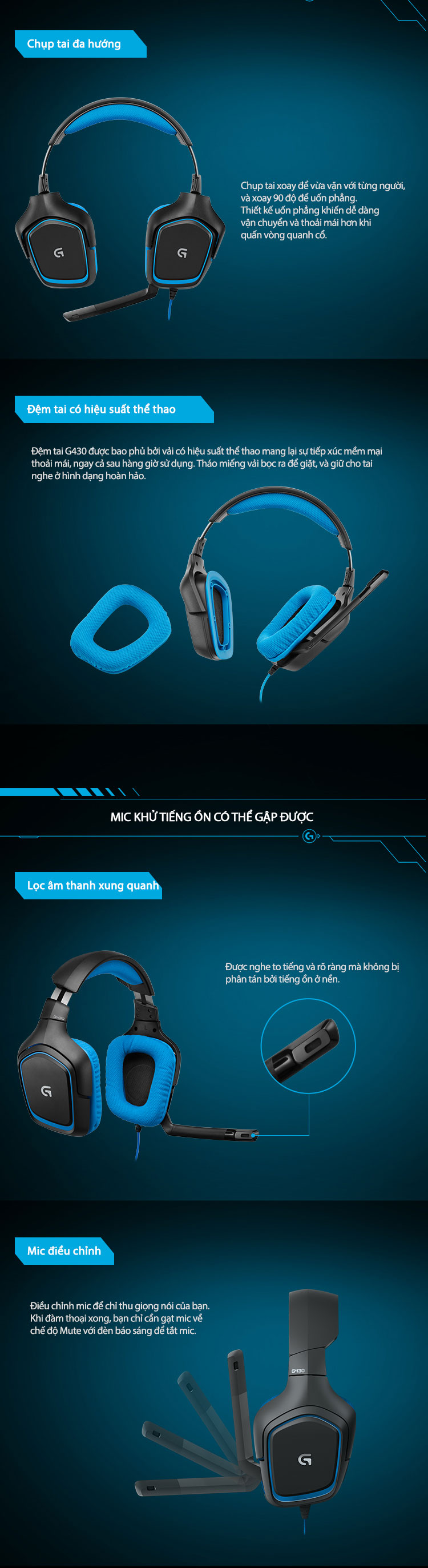 Tai Nghe Gaming Logitech G430 7.1 Surround – Hàng Chính Hãng