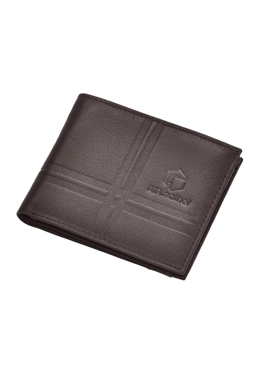 Ví da bò nam cao cấp AT Leather 048 (11.5 x 10.5 cm) - Đen