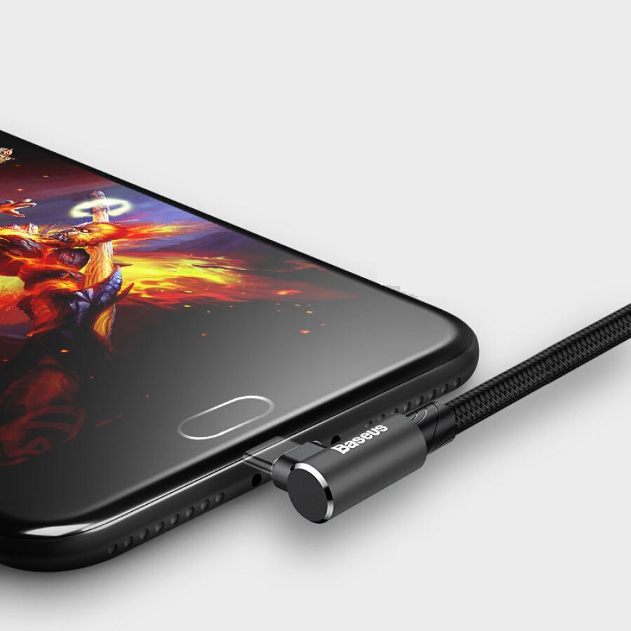 Cáp Micro Hỗ Trợ Sạc Nhanh, Vừa Sạc Pin Vừa Chơi Game Dành Cho Các Dòng Điện Thoại Android Vivo/ Oppo/ Millet/ Huawei Baseus - Hình Chữ L, Đen, 2m
