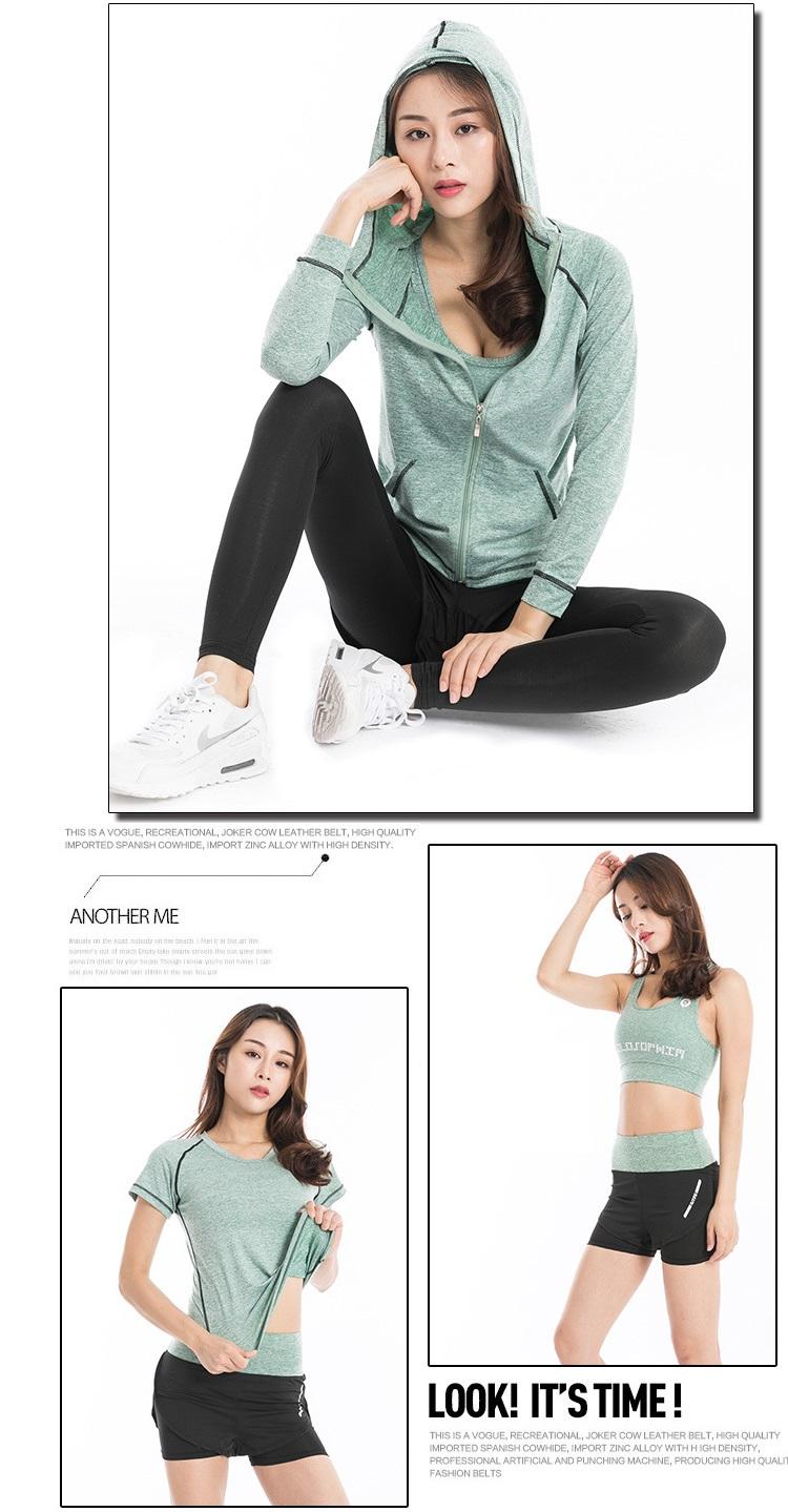 Bộ quần áo thể thao nữ tập Gym Yoga 5in1 (Gồm áo khoác, áo phông, áo ngực, quần đùi, quần dài), chất vải thoáng mát cao cấp - POKI