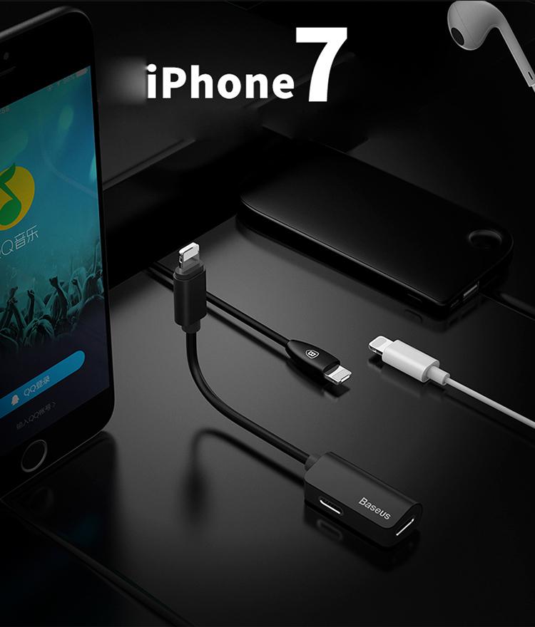 Bộ Chia Đôi Cổng Lightning Thông Minh Hỗ Trợ Vừa Sạc Pin Vừa Dùng Tai Nghe Baseus - Dành Cho iPhone X/ 7/ 8 Plus