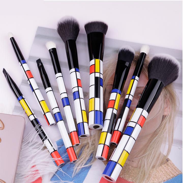 Bộ cọ trang điểm 9 cây Ducare 9 PCS Makeup Brushes Set Red Blue Yellow