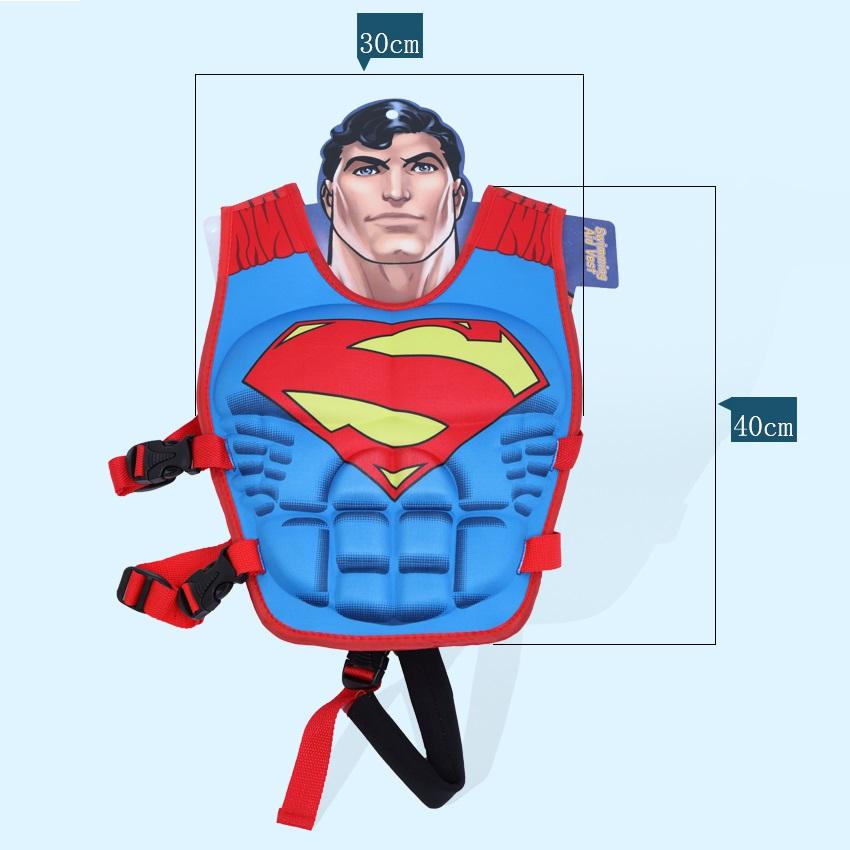 Phao bơi trẻ em, áo phao bơi SUPERMAN (Bé từ 2 - 10 tuổi), chất liệu tiêu chuẩn EU cao cấp - POKI