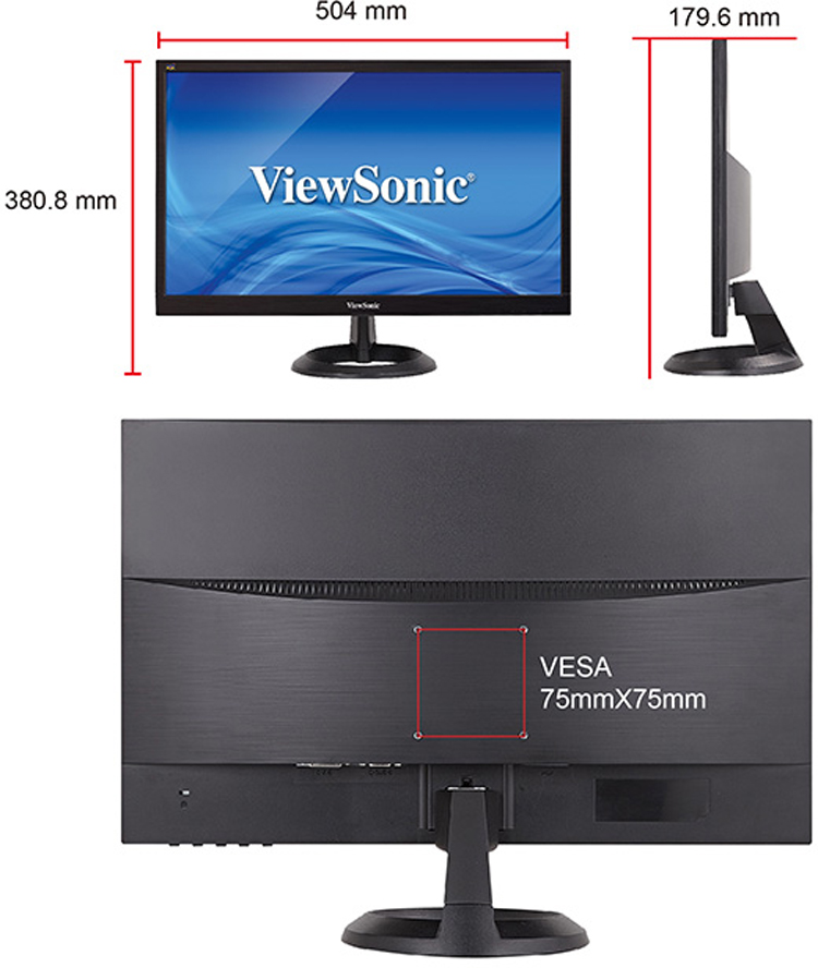 Màn Hình Viewsonic VA2261H-9 22Inch FullHD 5ms 75Hz TN - Hàng Chính Hãng