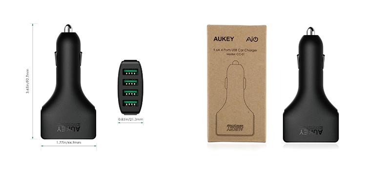 Cốc Sạc Xe Hơi 4 Cổng Sạc Nhanh Quick Charge 3.0 AuKey CC-01 48W Tích Hợp AiPower - Hàng Chính Hãng