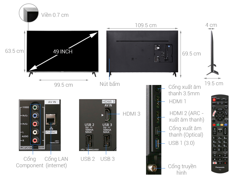 Smart Tivi Panasonic 49 inch 4K UHD TH-49FX700V