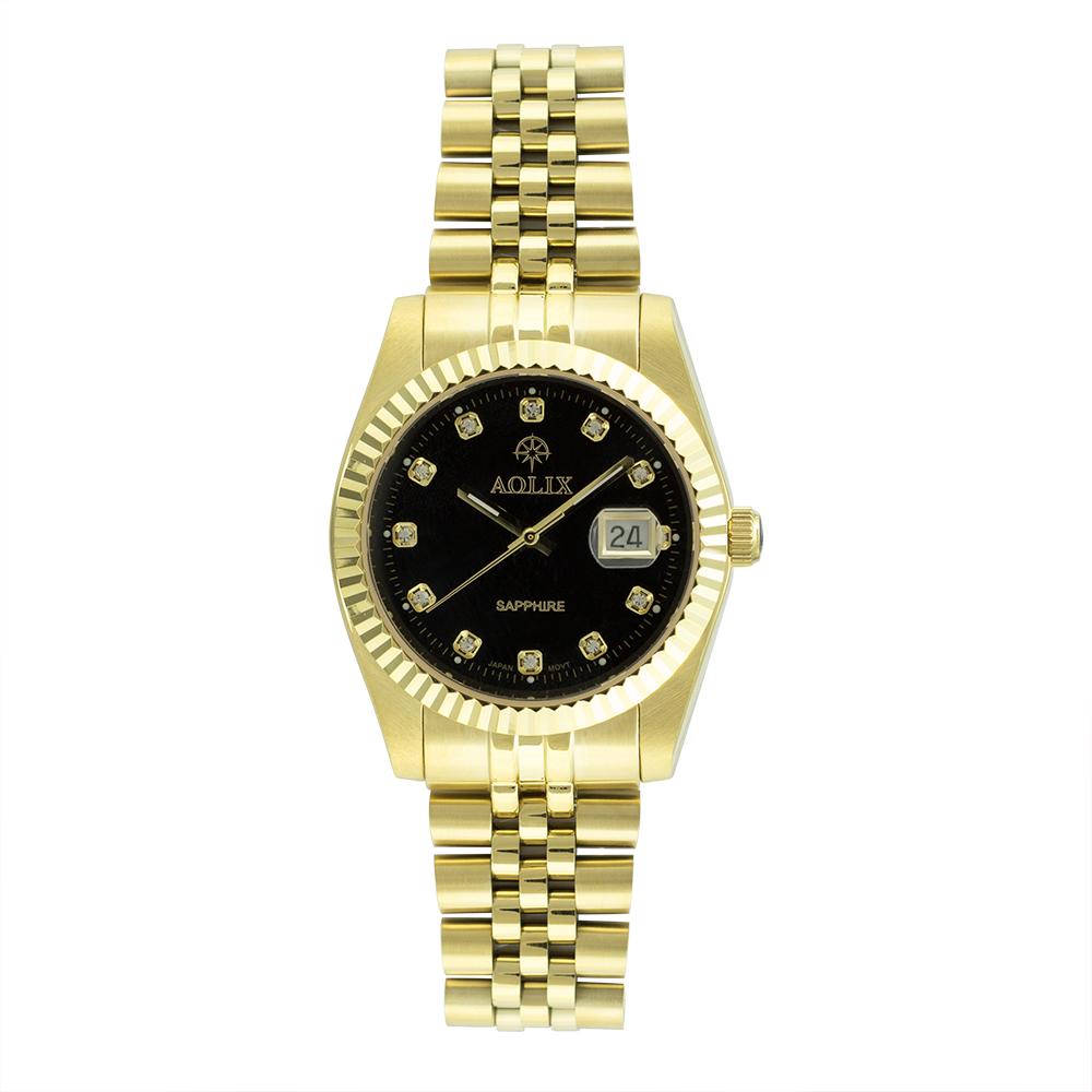 Đồng hồ Aolix AL-9147G nam dây thép vàng