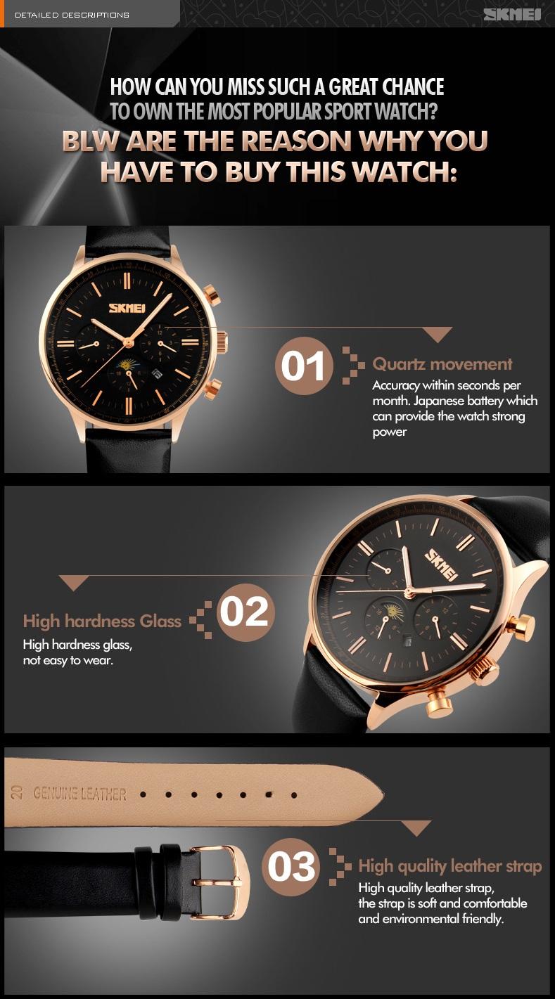 Đồng hồ Nam Skmei dây da cao cấp trẻ trung năng động JS- SK9117