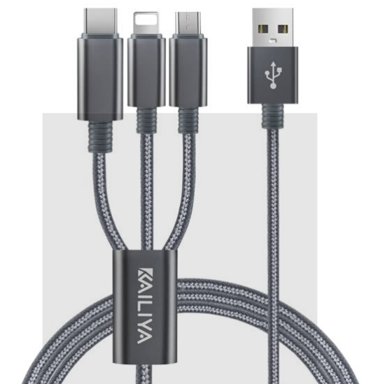 Dây Cáp Sạc Truyền Dữ Liệu 3 trong 1 Kelly - Gồm 3 cổng kết nối Apple, Android, Type-C Dành Cho Điện Thoại iPhoneX/8/7/6s/P Huawei P10 Glory 9 Millet 6 - 1.2m - Xám