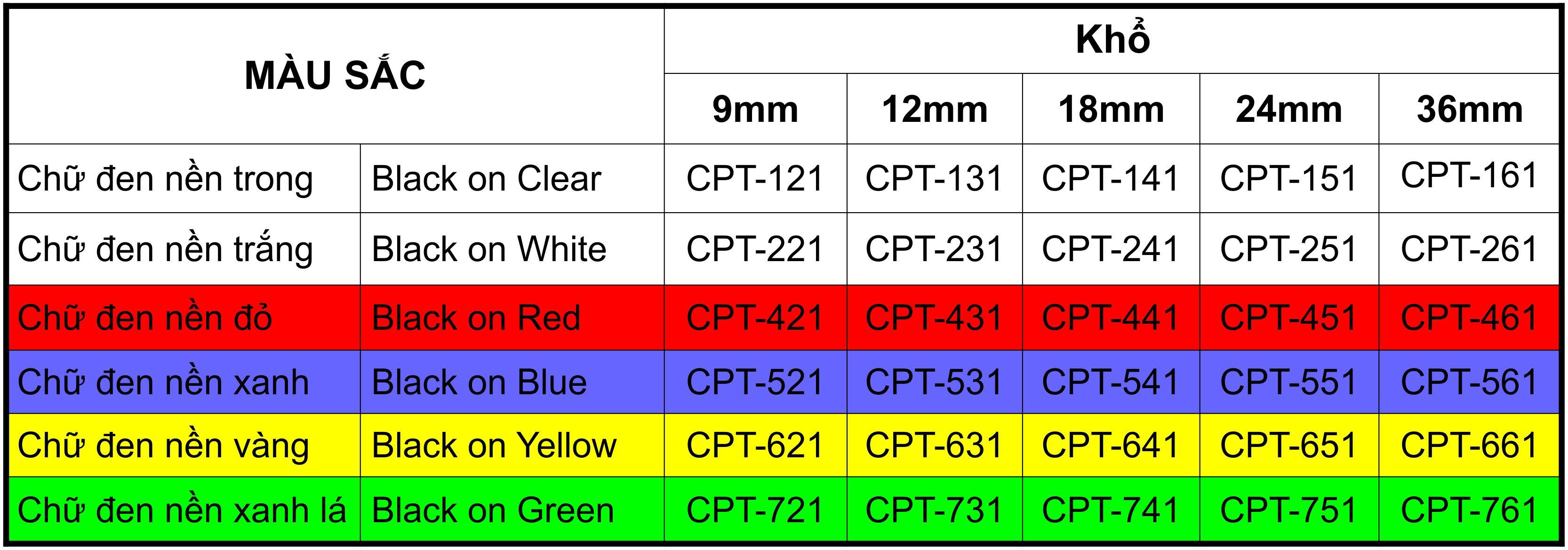 Tape nhãn in tương thích CPT-551 dùng cho máy in nhãn Brother P-Touch (chữ đen xanh dương, 24mm)