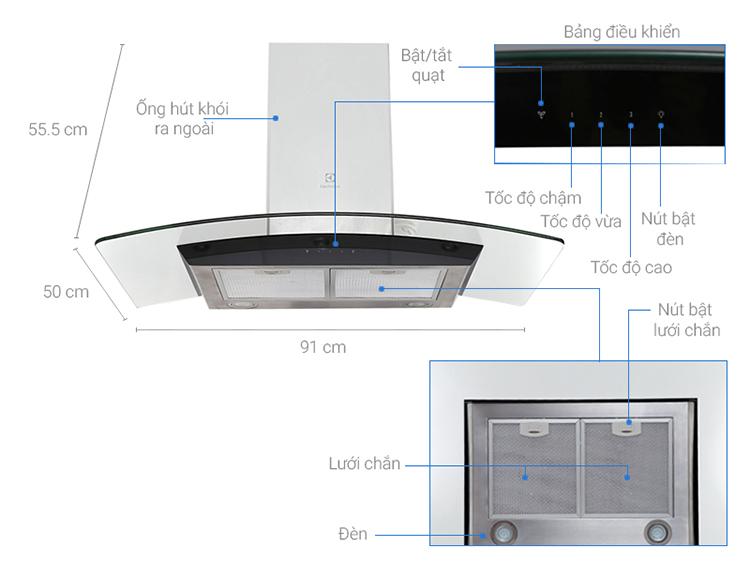 Máy Hút MùI Ống Electrolux EFC936GAR