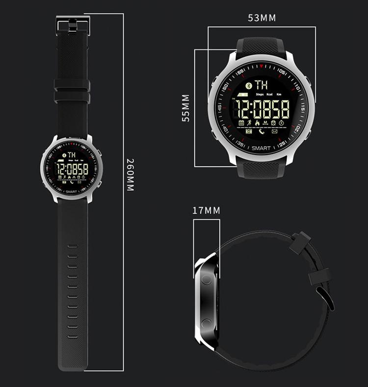 Vòng Đeo Tay Bluetooth Thông Minh Chống Nước Cho Nam Newman EX18 - Bạc Kim Loại