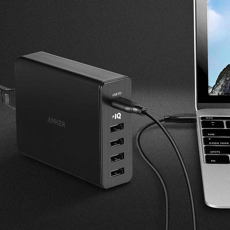 Cục Sạc 5 Chấu 60W (1 USB-C + 4 USB) Hỗ Trợ Apple Macbook/ Android/ Điện Thoại/ Máy Tính Bảng - Anker Anke - Đen